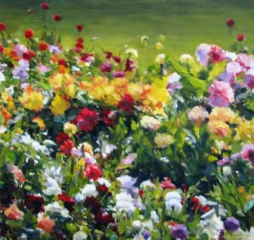 art painting multi-colored flowers