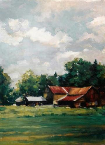 art painting barn in green field
