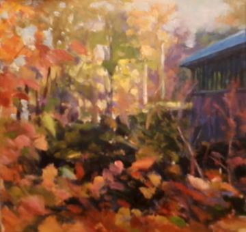 art painting covered bridge with fall foliage