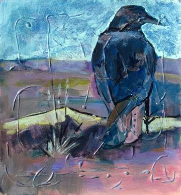 art painting of a crow watchful american icon