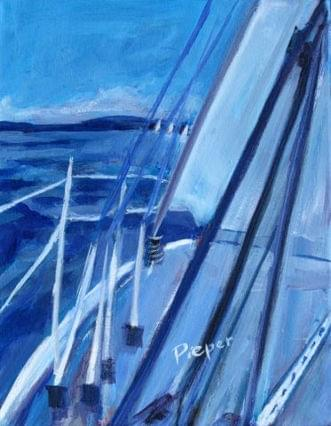 art painting blue sailboat on the sea blue sky