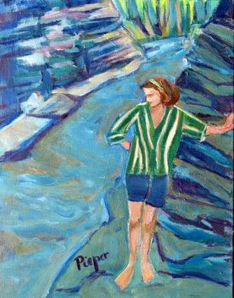 art painting woman at wintergreen park 1957