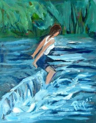 art painting woman in rapids wearing camisole top