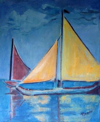 art painting sailboat two yellow sails and one sailboat with one red sail