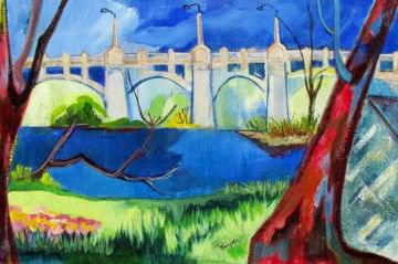 art painting of an old western gateway bridge