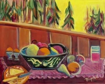 art painting breakfast table with fruit, ice cream and juice