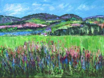 art painting valley in springtime
