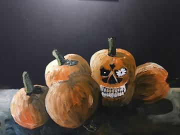 painting of one pumpkin in a patch with angry teeth and eyes
