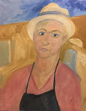 painting of carole with a hat
