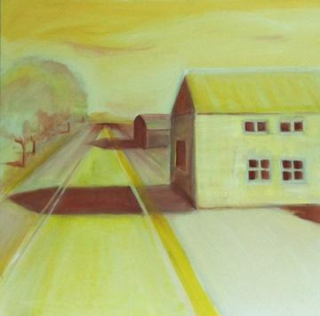 art painting long road with trees on left and yellow barn on right