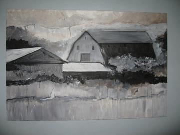 art painting barns along a river