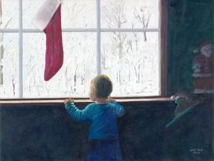 art painting of child looking out snowy window with christmas stocking