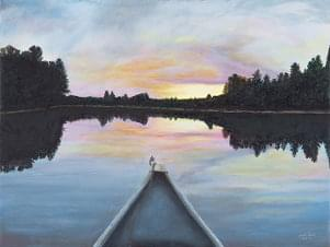 art painting of lake from perspective of canoe