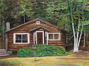 art painting of a log cabin in the woods