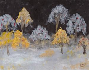 art painting of trees some with white leaves some with yellow leaves