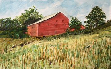 art painting big red shed in a valley of grass