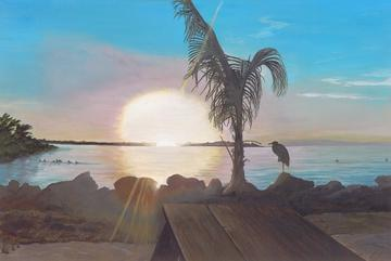 art painting setting sun beach with palm tree