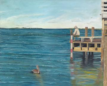art painting fisherman sitting at end of dock