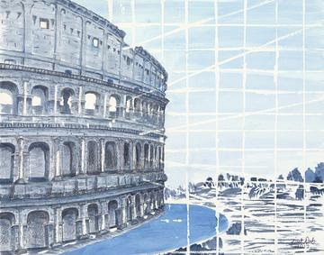 art painting roman coliseum with grid lines