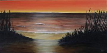 art painting beach on ocean at sunset