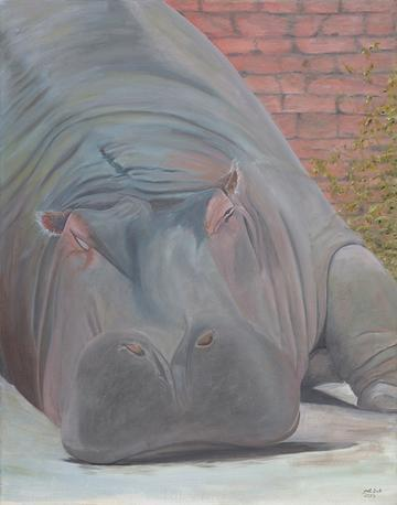 art painting sleeping hippopotamus