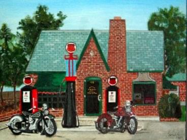 art painting vintage 1940 harleys outside brick gas station