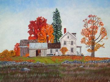 art painting farmhouse in autumn