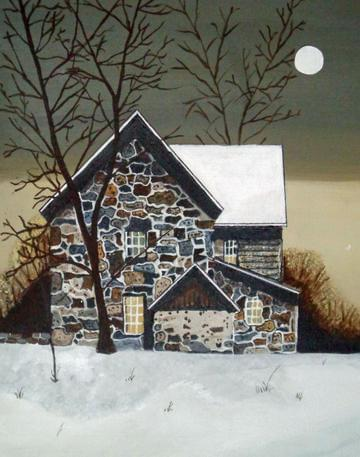 art painting house with snow on it and white moon