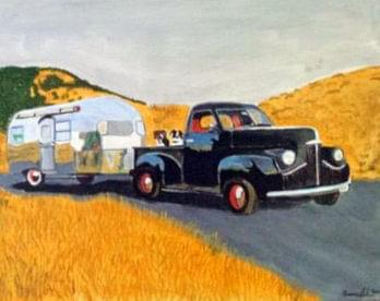 art painting old black truck pulling airstream