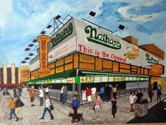 art painting of nathans on coney island