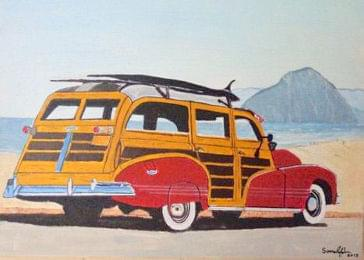 art painting of old car with wood for doors and trunk