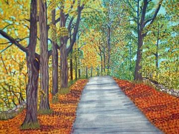 art painting country road in fall