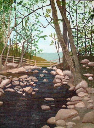 art painting thatcher park new york top of waterfall