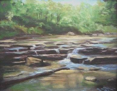 art painting rocky stream with woods