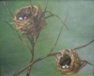 art painting birds nest with eggs on tree branches
