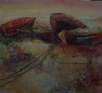 art painting of stranded rowboats on the shore