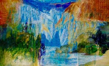 art painting abstract of a mountain montage