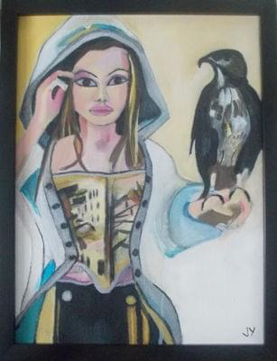art painting of hooded woman holding hawk