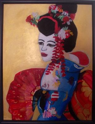 art painting of a geisha girl