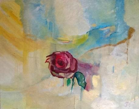 art painting abstract with rose in middle surrounded by colors