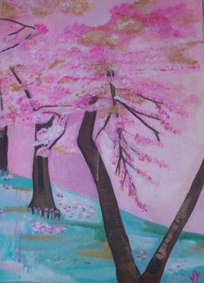 art painting of blossoming cherry trees