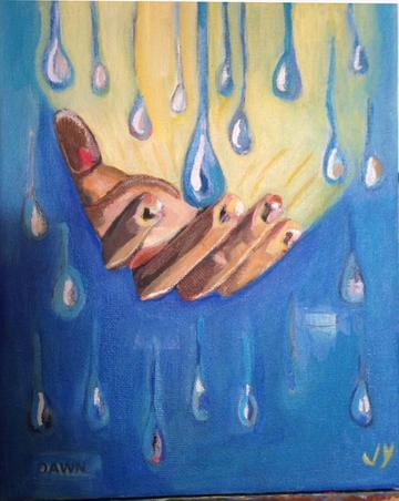 art painting hand catching raindrops