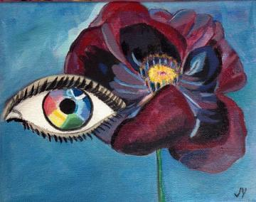 art painting abstract eye and rose