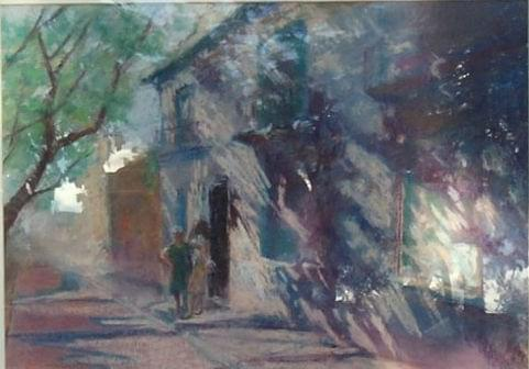 art painting house on street in spain woman standing out front