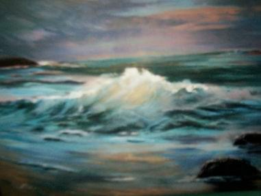 art painting ocean shore