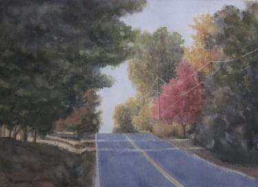 painting of empty road with shadows on it