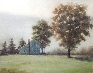 painting of single home with morning mist