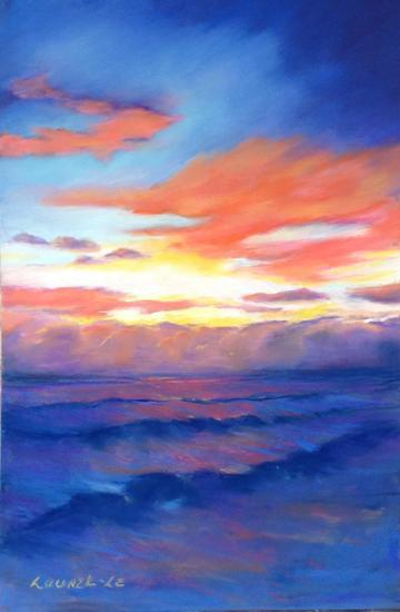 art painting sunrise above the clouds