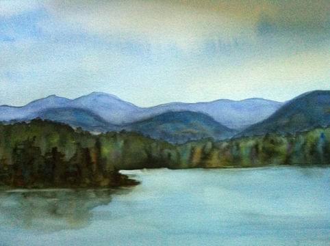 art painting lake in mountain range