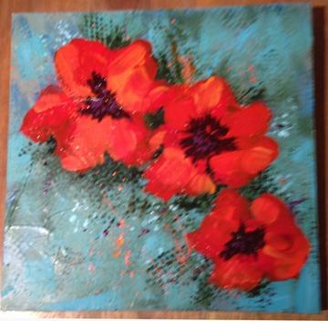 art painting red poppies
